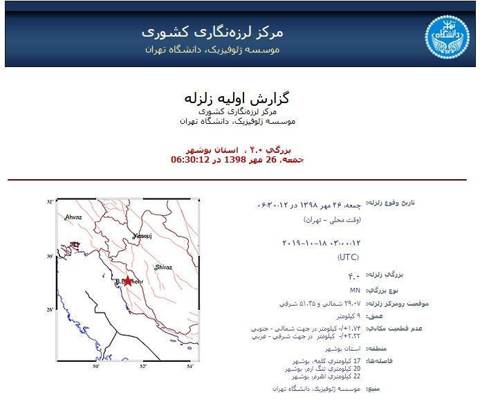 زلزله 4 ریشتری کلمه دشتستان را تکان داد، خسارتی تا کنون اعلام نشده است