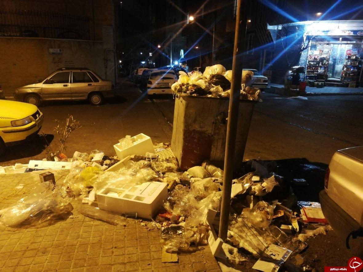 وضع زباله ها در معابر خیابان بزرگمهر جنت آباد